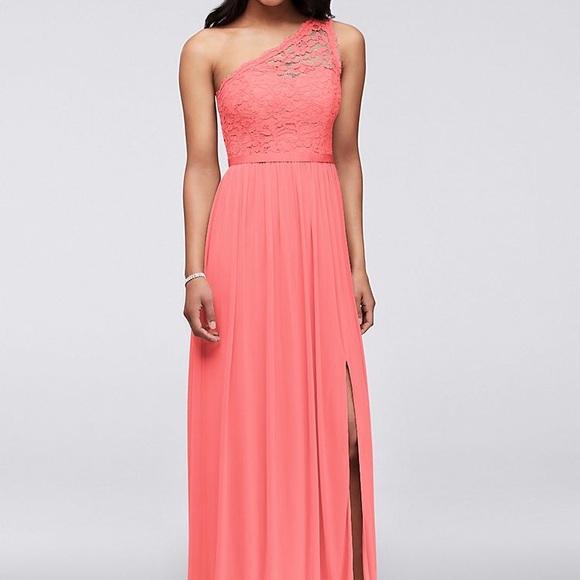 7d7f43658dc David s Bridal Dresses   Skirts - Long One Shoulder Lace Bridesmaid Dress  in Parfait